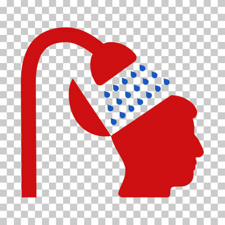 Blue And Red Open Mind Shower interface toolbar pictogram. Vector pictograph style is a flat bicolor symbol on chess transparent background.