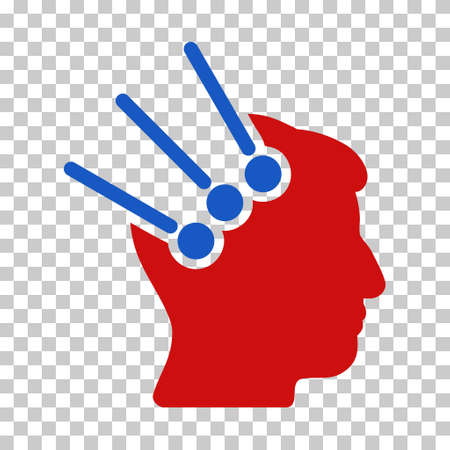 Blue And Red Neural Interface Connectors interface toolbar pictogram. Vector pictograph style is a flat bicolor symbol on chess transparent background. Illustration