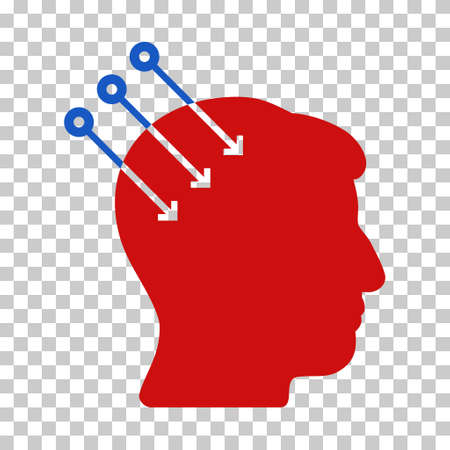 Blue And Red Neural Interface Connectors interface pictogram. Vector pictograph style is a flat bicolor symbol on chess transparent background. Illustration