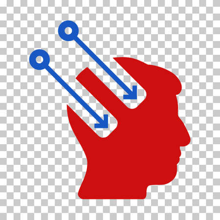 Blue And Red Neural Interface interface pictogram. Vector pictograph style is a flat bicolor symbol on chess transparent background. Illustration