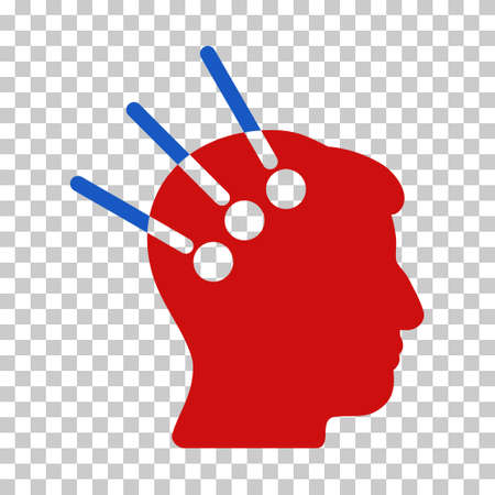 Blue And Red Neural Interface interface toolbar icon. Vector pictograph style is a flat bicolor symbol on chess transparent background.