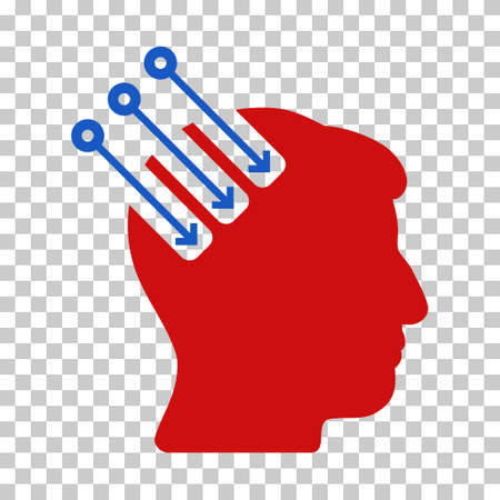 plugin: Blue And Red Neuro Interface toolbar pictogram. Vector pictogram style is a flat bicolor symbol on chess transparent background.
