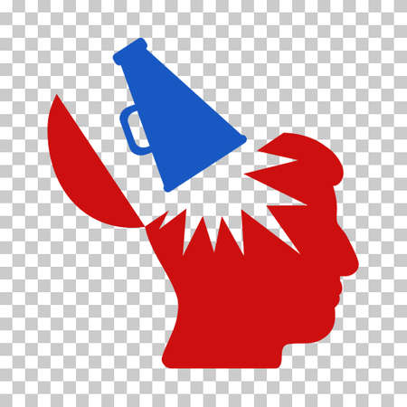 Blue And Red Open Brain Megaphone interface toolbar pictogram. Vector pictogram style is a flat bicolor symbol on chess transparent background.