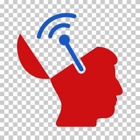 Blue And Red Open Brain Radio Interface toolbar icon. Vector pictogram style is a flat bicolor symbol on chess transparent background.