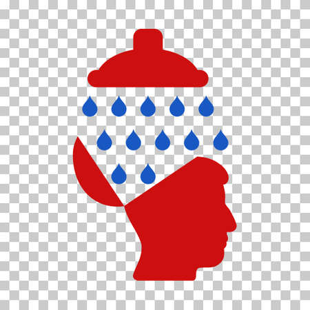 red  open: Blue And Red Open Brain Shower interface pictogram. Vector pictograph style is a flat bicolor symbol on chess transparent background.