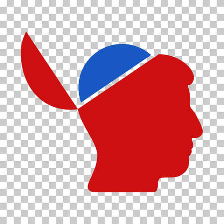 sculp: Blue And Red Open Brain toolbar icon. Vector pictogram style is a flat bicolor symbol on chess transparent background. Illustration
