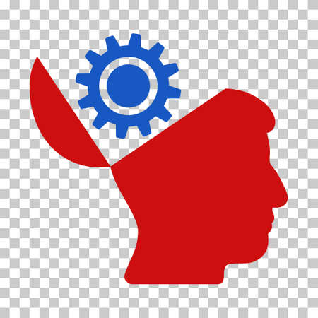 red  open: Blue And Red Open Head Gear interface icon. Vector pictograph style is a flat bicolor symbol on chess transparent background.