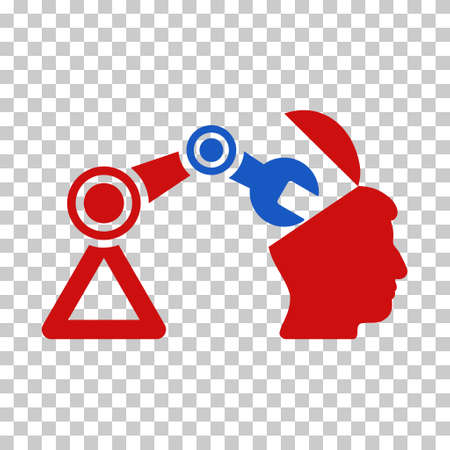 red  open: Blue And Red Open Head Surgery Manipulator interface toolbar pictogram. Vector pictograph style is a flat bicolor symbol on chess transparent background. Illustration