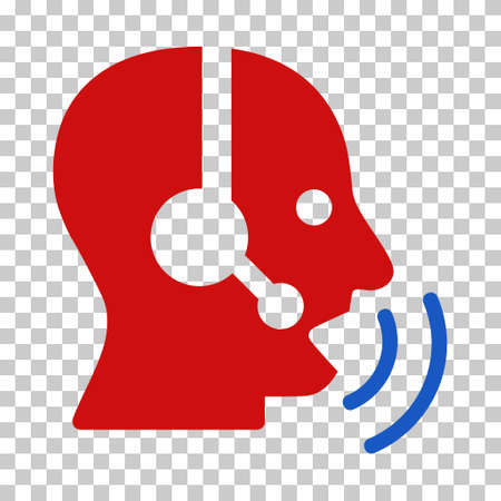 phone and call: Blue And Red Operator Speech Sound Waves interface toolbar pictogram. Vector pictograph style is a flat bicolor symbol on chess transparent background.