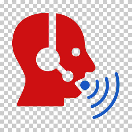 red sound: Blue And Red Operator Talking Sound Waves interface toolbar icon. Vector pictogram style is a flat bicolor symbol on chess transparent background.