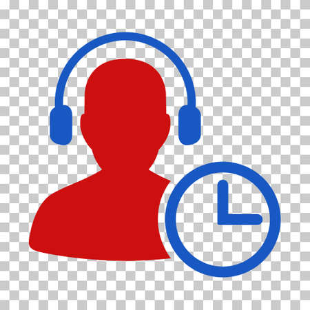 Blue And Red Operator Time toolbar icon. Vector pictograph style is a flat bicolor symbol on chess transparent background.
