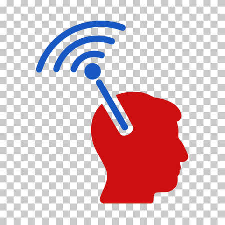 Blue And Red Radio Neural Interface interface icon. Vector pictograph style is a flat bicolor symbol on chess transparent background.