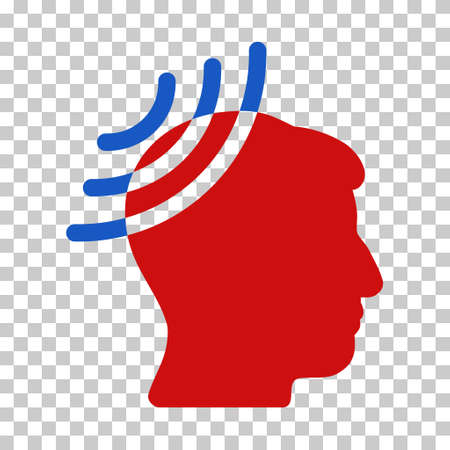 Blue And Red Radio Reception Head interface toolbar icon. Vector pictogram style is a flat bicolor symbol on chess transparent background. Illustration