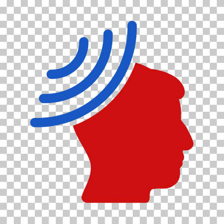 Blue And Red Radio Reception Mind toolbar pictogram. Vector pictogram style is a flat bicolor symbol on chess transparent background. Illustration