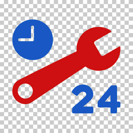 Blue And Red Service Hours interface icon. Vector pictograph style is a flat bicolor symbol on chess transparent background.