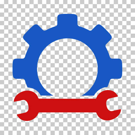 Blue And Red Service Tools interface toolbar icon. Vector pictogram style is a flat bicolor symbol on chess transparent background. Illustration