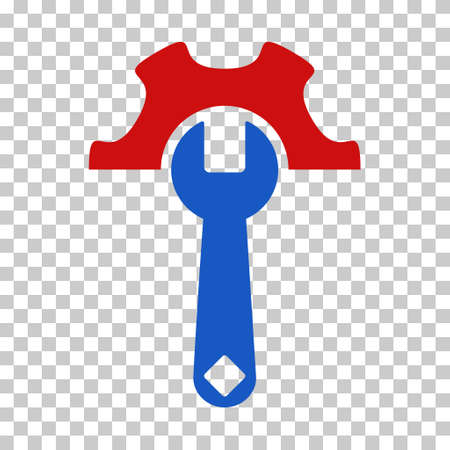 Blue And Red Service Tools interface icon. Vector pictograph style is a flat bicolor symbol on chess transparent background.