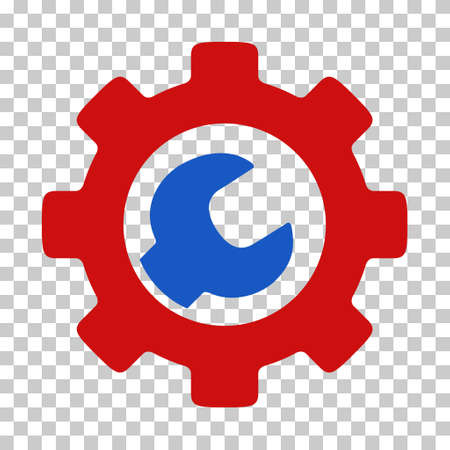 Blue And Red Service Tools toolbar pictogram. Vector pictograph style is a flat bicolor symbol on chess transparent background. Ilustracja