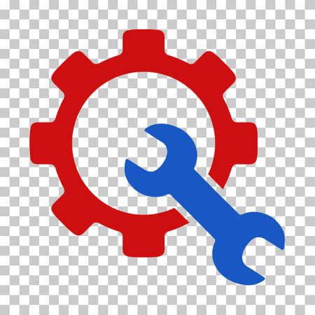 config: Blue And Red Service Tools interface icon. Vector pictogram style is a flat bicolor symbol on chess transparent background. Illustration