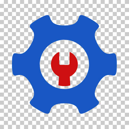 Blue And Red Service Tools interface toolbar pictogram. Vector pictograph style is a flat bicolor symbol on chess transparent background. Illustration