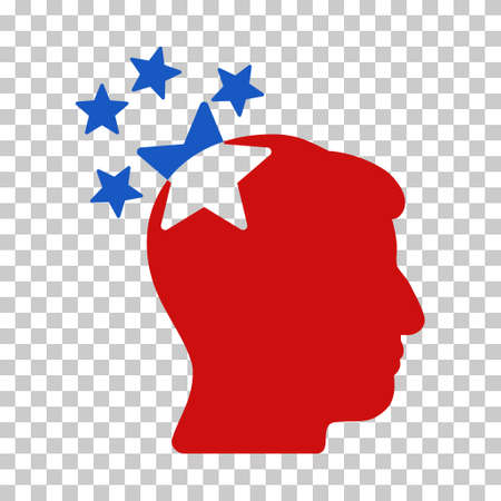 ruch: Blue And Red Stars Hit Head toolbar icon. Vector pictograph style is a flat bicolor symbol on chess transparent background.