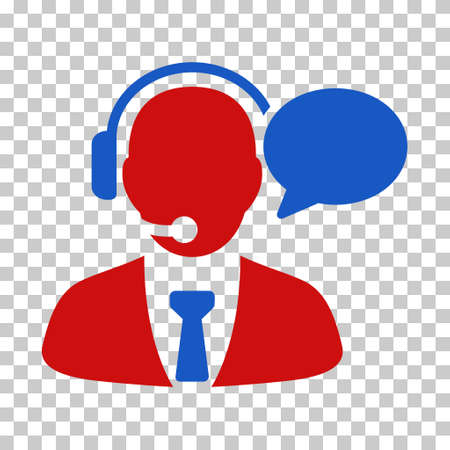 Blue And Red Support Manager Message interface toolbar pictogram. Vector pictogram style is a flat bicolor symbol on chess transparent background. Illustration