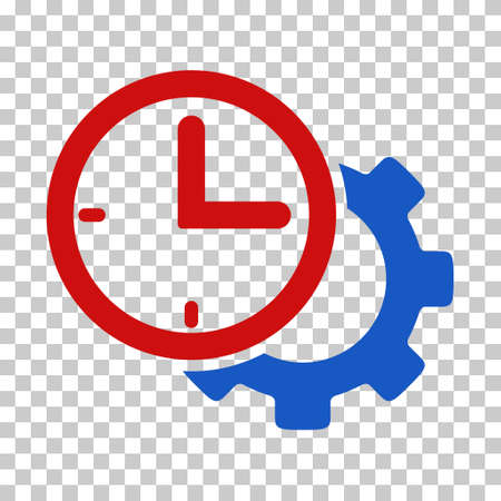 schedule system: Blue And Red Time Setup Gear interface toolbar icon. Vector pictogram style is a flat bicolor symbol on chess transparent background.