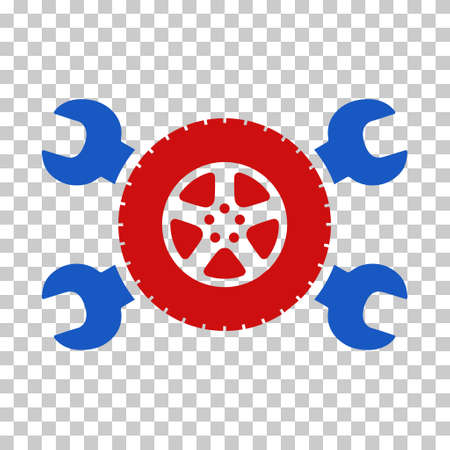 Blue And Red Tire Service Wrenches interface icon. Vector pictograph style is a flat bicolor symbol on chess transparent background.