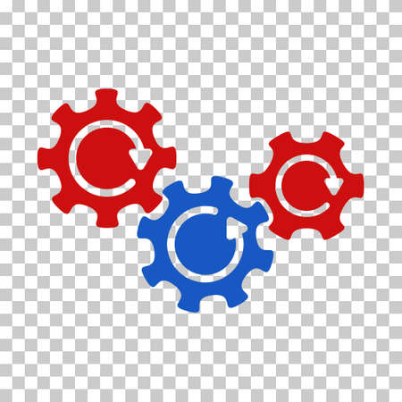 complex system: Blue And Red Transmission Gears Rotation interface toolbar pictogram. Vector pictogram style is a flat bicolor symbol on chess transparent background. Illustration