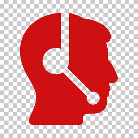 talker: Red Call Center Operator interface icon. Vector pictograph style is a flat symbol on chess transparent background.