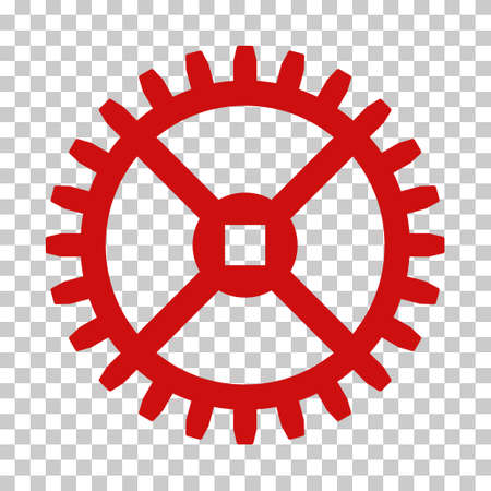 Red Clock Gear interface pictogram. Vector pictograph style is a flat symbol on chess transparent background. Illustration