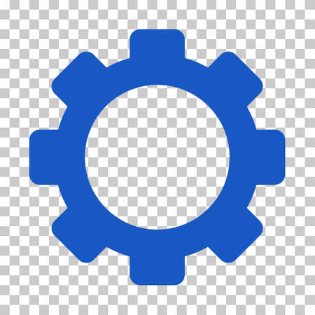 Blue Gear interface pictogram. Vector pictogram style is a flat symbol on chess transparent background. Illustration