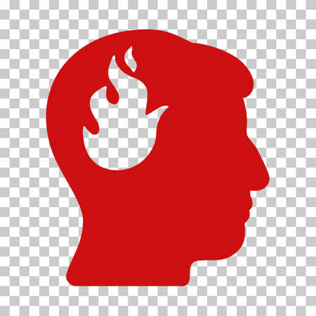 ruch: Red Brain Fire interface pictogram. Vector pictograph style is a flat symbol on chess transparent background.