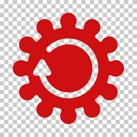 synchronize: Red Cog Rotation toolbar icon. Vector pictograph style is a flat symbol on chess transparent background.