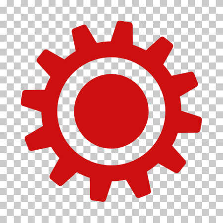Red Cog interface toolbar pictogram. Vector pictograph style is a flat symbol on chess transparent background. Ilustracja
