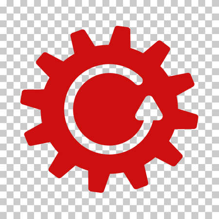 Red Cogwheel Rotation toolbar icon. Vector pictograph style is a flat symbol on chess transparent background.