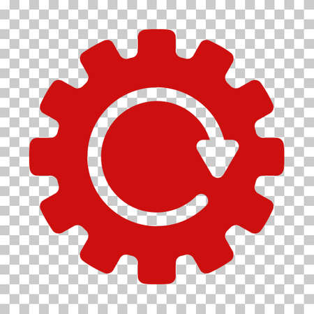 synchronize: Red Gearwheel Rotation interface icon. Vector pictograph style is a flat symbol on chess transparent background.