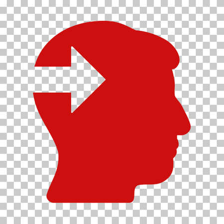 plugin: Red Head Plug-In Arrow interface pictogram. Vector pictograph style is a flat symbol on chess transparent background. Illustration
