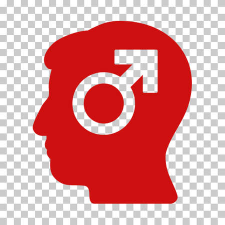 potency: Red Mind Potency interface toolbar icon. Vector pictograph style is a flat symbol on chess transparent background.