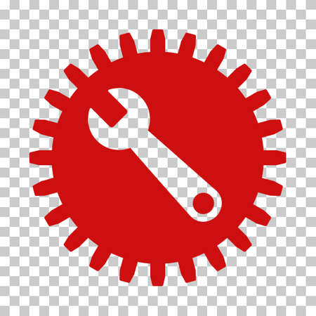 power wrench: Red Service Tools interface pictogram. Vector pictogram style is a flat symbol on chess transparent background. Illustration