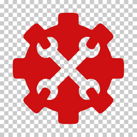 Red Service Tools interface icon. Vector pictogram style is a flat symbol on chess transparent background.