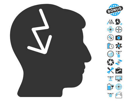 enforce: Brain Electric Strike icon with bonus uav tools design elements. Glyph illustration style is flat iconic blue and gray symbols on white background. Stock Photo