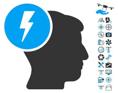 ruch: Brain Electricity icon with bonus aircopter tools images. Glyph illustration style is flat iconic blue and gray symbols on white background.