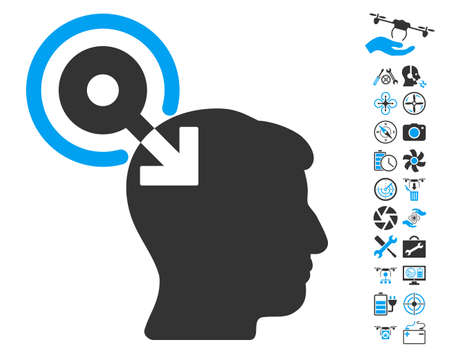 plugin: Brain Interface Plug-In pictograph with bonus airdrone tools symbols. Glyph illustration style is flat iconic blue and gray symbols on white background.