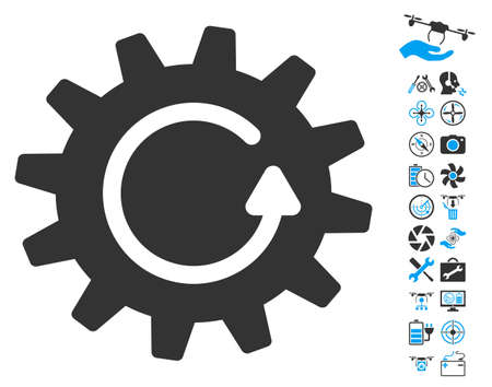 config: Cogwheel Rotation pictograph with bonus uav service pictures. Glyph illustration style is flat iconic blue and gray symbols on white background.