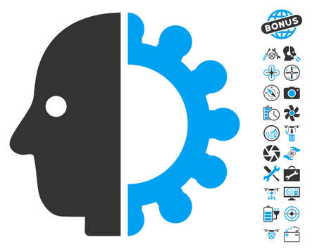 Cyborg Head icon with bonus nanocopter tools pictures. Glyph illustration style is flat iconic blue and gray symbols on white background.
