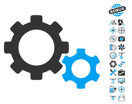 config: Gears icon with bonus flying drone tools clip art. Glyph illustration style is flat iconic blue and gray symbols on white background. Stock Photo