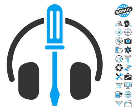 config: Headphones Tuning Screwdriver icon with bonus uav tools graphic icons. Glyph illustration style is flat iconic blue and gray symbols on white background. Stock Photo