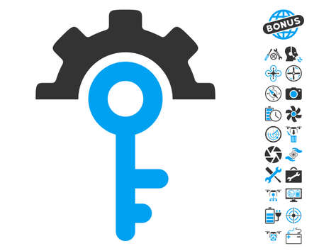 tool unlock: Key Options icon with bonus airdrone tools images. Glyph illustration style is flat iconic blue and gray symbols on white background.