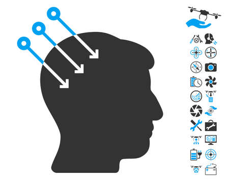 cerebra: Neural Interface Connectors pictograph with bonus aircopter service pictograph collection. Glyph illustration style is flat iconic blue and gray symbols on white background.